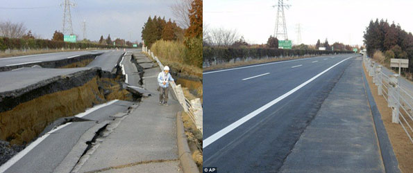Autoroute japonaise réparé SIX jours après avoir été détruit par le séisme